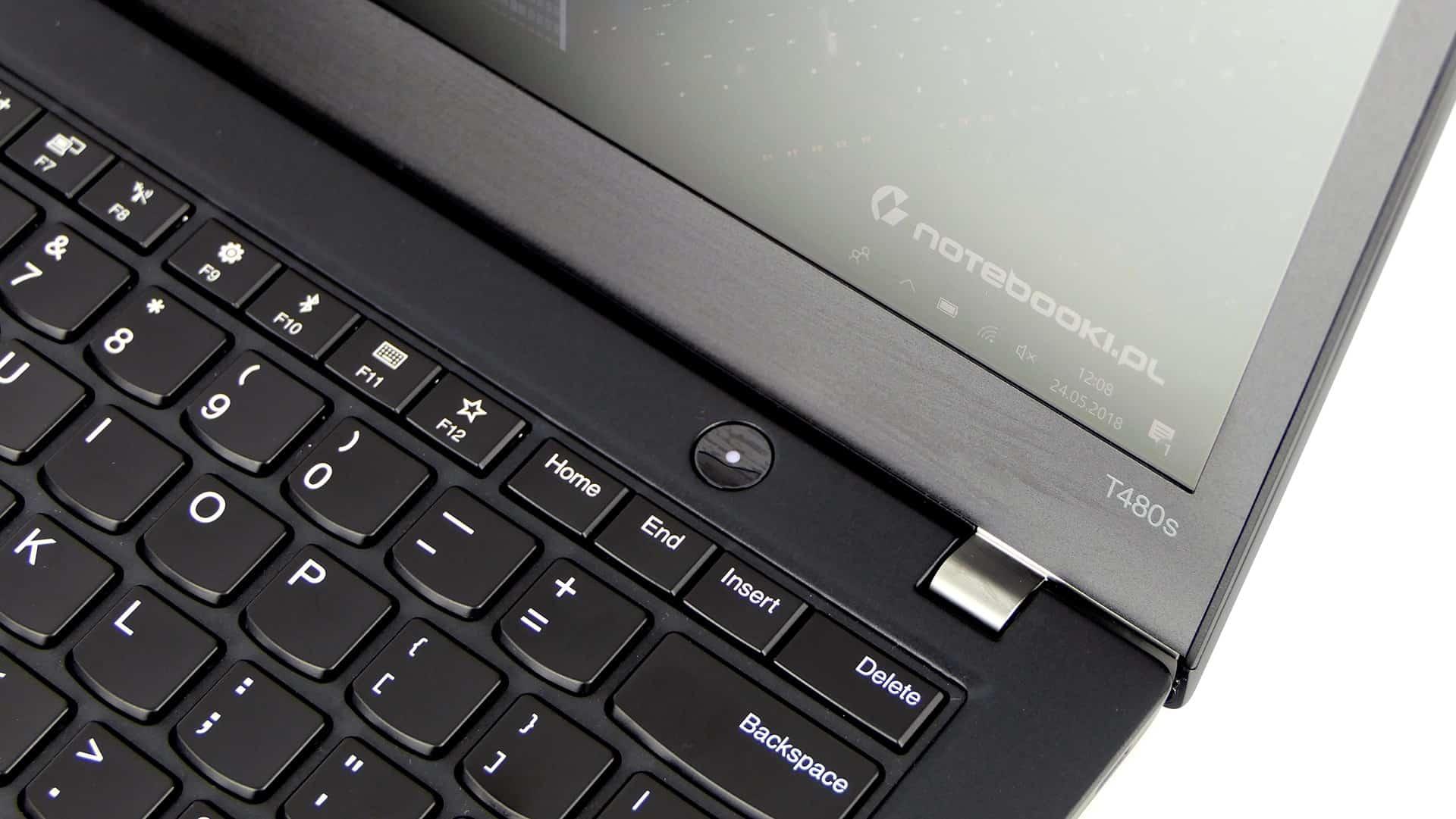 Lenovo ThinkPad T480s - klawiatura oraz przycisk zasilania