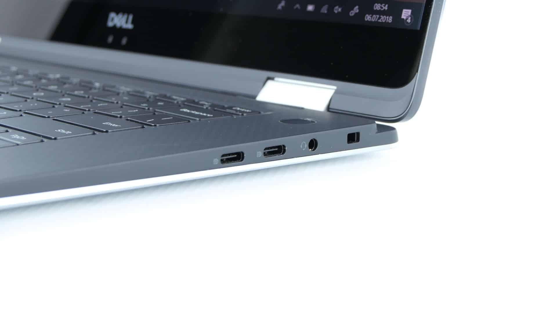Dell XPS 15 9575 2 w 1 - dwa porty USB 3.1 typu C oraz audio