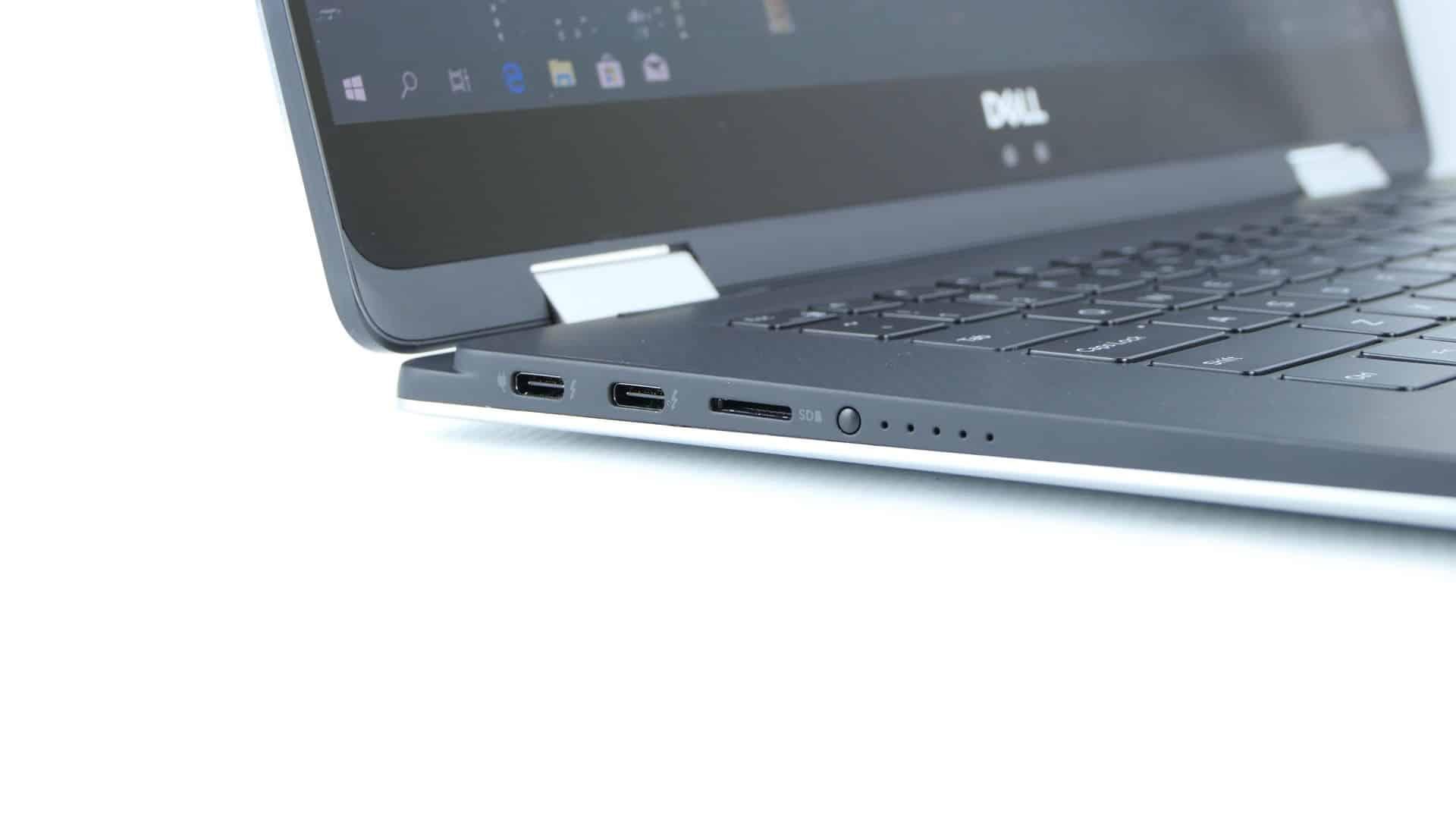 Dell XPS 15 9575 2 w1 - dwa porty Thunderbolt 3, czytnik kart microSD orazwskaźnik naładowania baterii