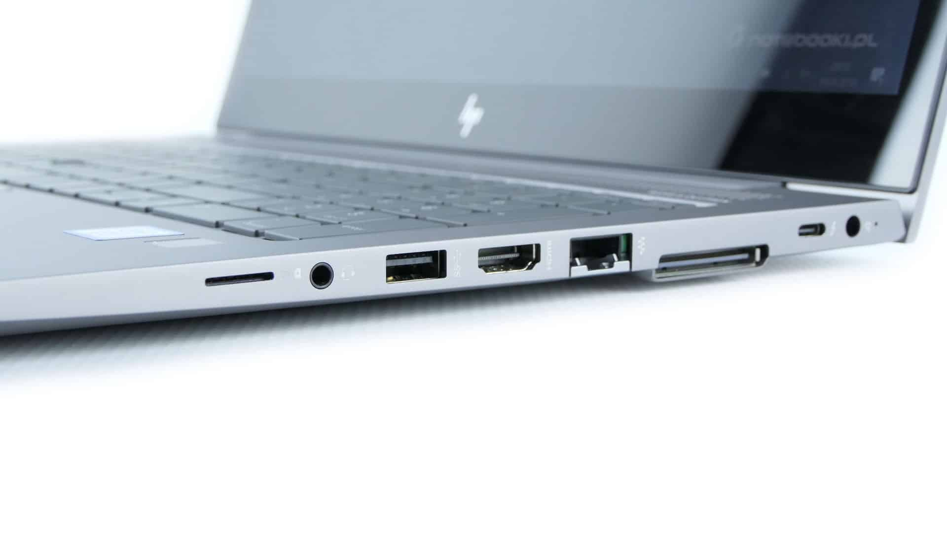 HP ZBook 15u G5 - gniazdo SIM, audio,  USB 3.0, HDMI, LAN, gniazdo dokowania, Thunderbolt 3, gniazdo zasilania