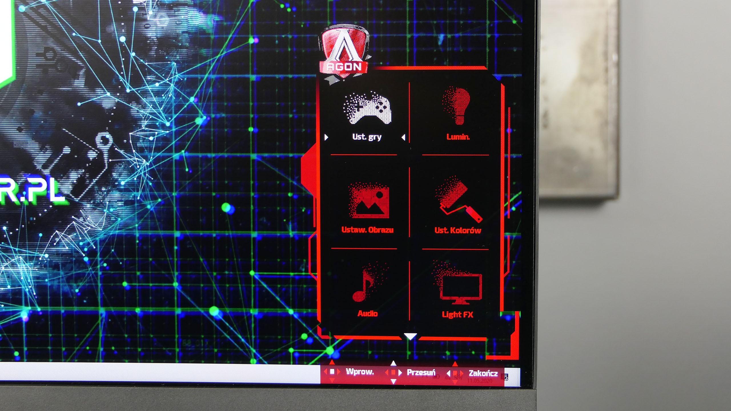 AOC Agon AG273QCX - menu główne