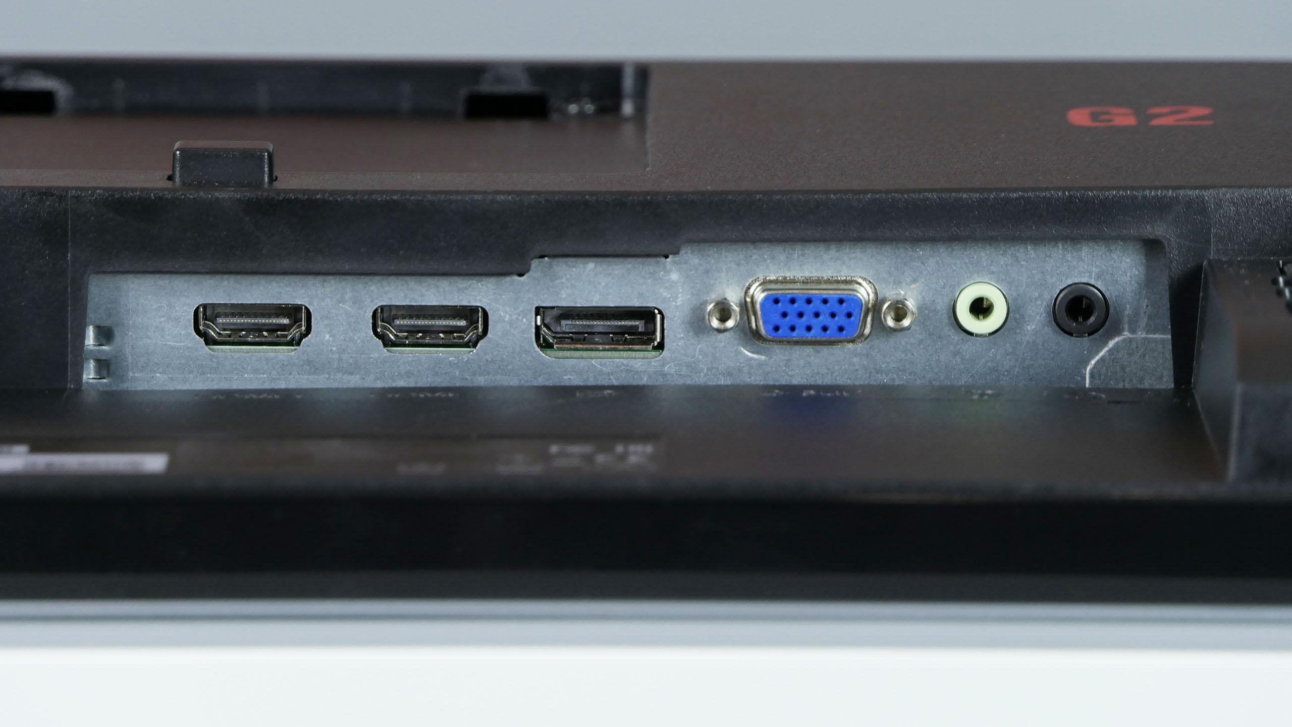 AOC G2590PX G2 - porty HDMI, DisplayPort, VGA orazwejście iwyjście audio