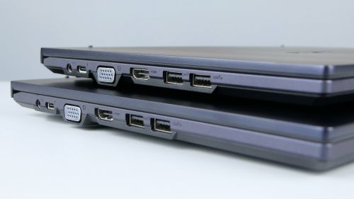 Większość portów umieszczono nalewym boku: zasilanie, Thunderbolt 4, VGA, HDMI orazdwa USB 3.2 gen 2