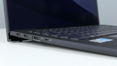 Asus ExpertBook B9450F - porty zlewej strony: 2x Thunderbolt 3, HDMI imicroHDMI