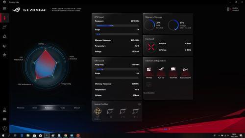 Armoury Crate - monitorowanie obciążenia systemu i profile pracy