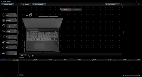 Oprogramowanie Aura Creator - pozwala nabardzo szczegółowe zarządzanie podświetleniem komputera