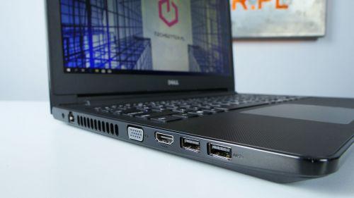 Dell Vostro 3578 - lewy bok: zasilanie, LAN, VGA, HDMI oraz  USB 3.0 i USB 2.0