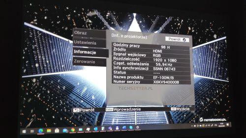 Epson EF-100W - menu
