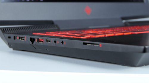 HP Omen 17 - porty z lewej strony: Kensington, mini-DisplayPort, HDMI, RJ-45, USB 3.0, Thunderbolt 3, audio out, audio in