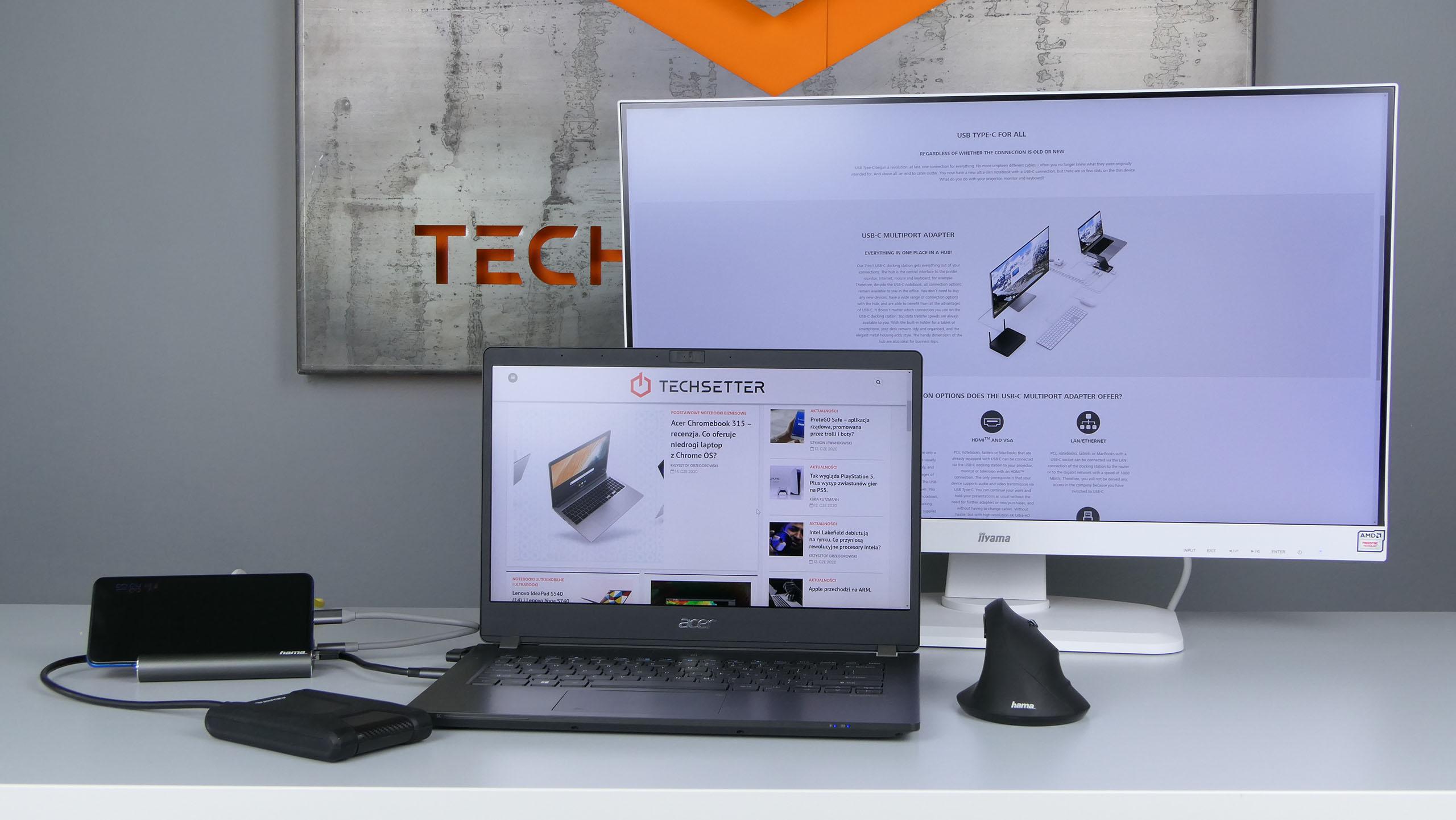 Hama Stacja dokująca USB-C 7w1 zAcerem TravelMate P614