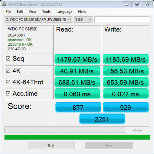 AS SSD Benchmark - WDC PC SN520 SDA