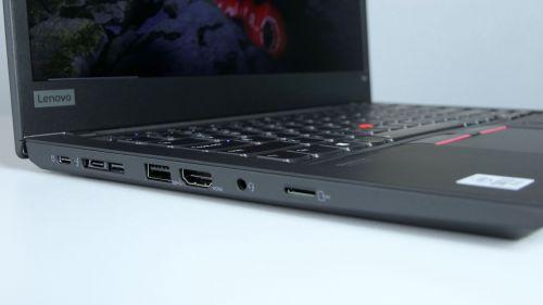 Lenovo ThinkPad T14 Gen 1 - gniazda zlewej strony: Thunderbolt 3, gniazdo dokowania, USB 3.0, HDMI, jack in/out, czytnik kart SD