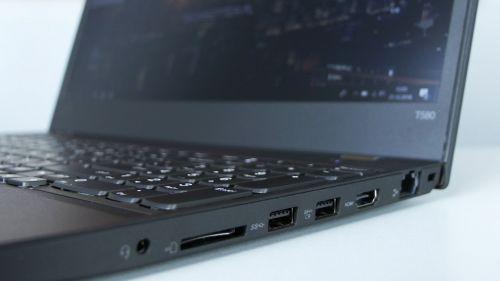 Lenovo ThinkPad T580 - porty z prawej strony: LAN, HDMI, 2x USB 3.0, audio combo