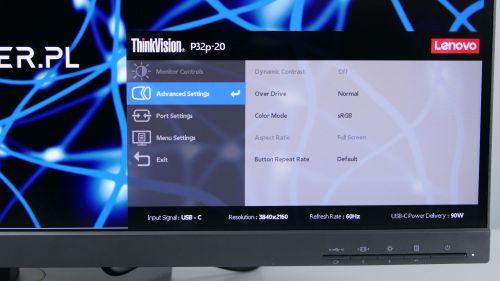 Lenovo ThinkVision P32p-20 - opcji zaawansowanych niema zbyt wiele