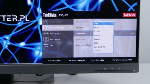 Lenovo ThinkVision P32p-20 - dostępne ustawienia kolorów