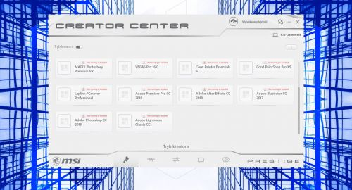 MSI Creator Center - ekran Trybu Kreatora