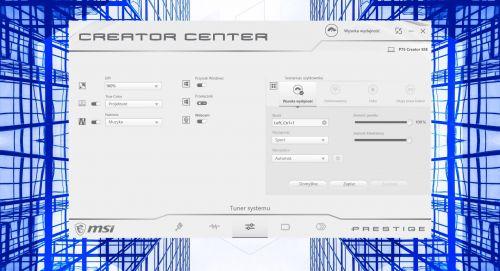 MSI Creator Center - ekran zarządzania ekranem oraz wydajnością układu chłodzenia