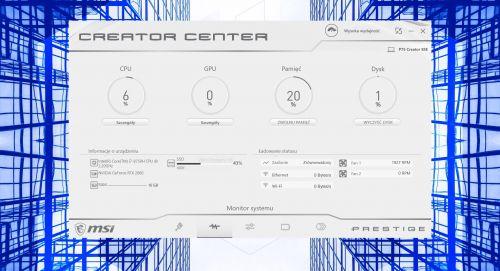 MSI Creator Center - monitor systemu