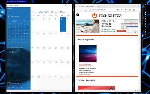 Na dwóch ekranach można uruchomić dwie niezależnie działające aplikacje.